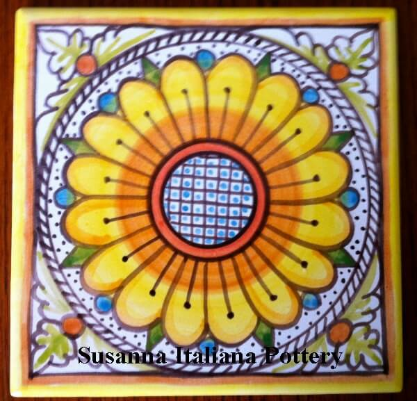 Hand painted, tile, sunflower