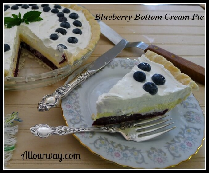 Blueberry Bottom Cream Pie is a layered dessert that can be frozen at allourway.com