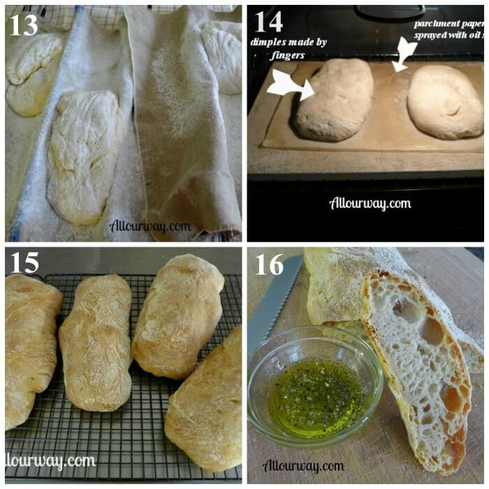 How to Make Ciabatta bread Steps 13-16 at allourway.com