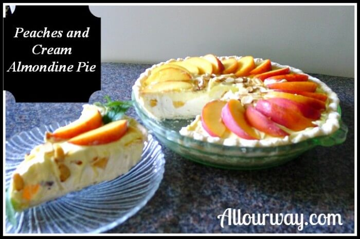 A slice of the peaches and Cream Almondine Pie on a glass plate with the pie behind it.