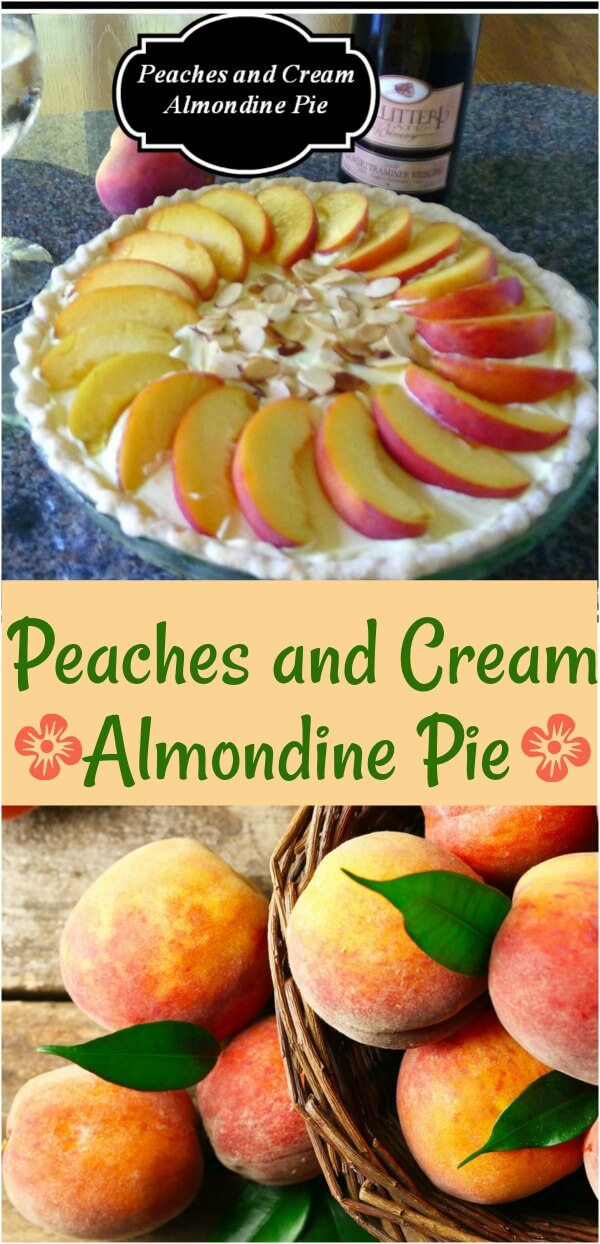 A collage of peaches and peaches and cream pie dessert with sliced peaches on top.