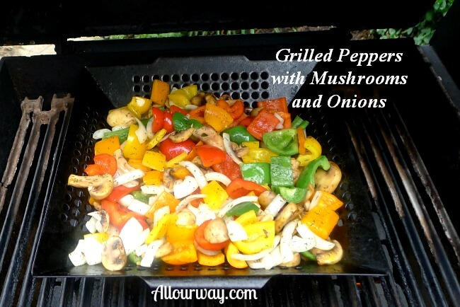 Grilled peppers, mushrooms and onions at Allourway.com