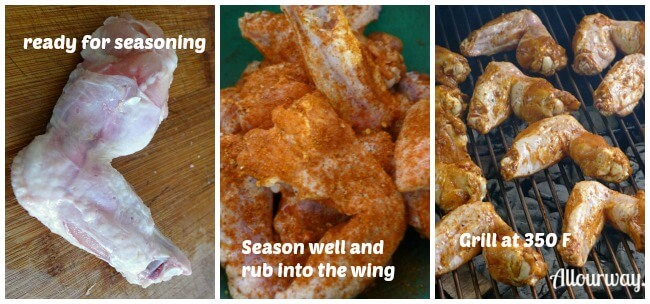 Preparing Chicken wings for the grill the final steps in seasoning the chicken with the rub and placing the wings on the grill.