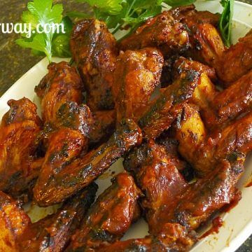 Chicken Wings with Spicy Bourbon Barbecue Sauce at allourway.com
