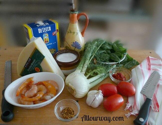 Orecchiette with Spicy Shrimp Ingredients at allourway.com
