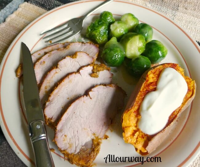 Pork Sirloin Tip Roast Meal Served with Brussels Sprouts and Baked Sweet Potato at allourway.com