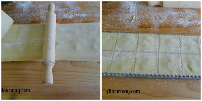 Collage showing how the Ravioli rolling pin runs over the dough from center out to seal the edges at allourway.com