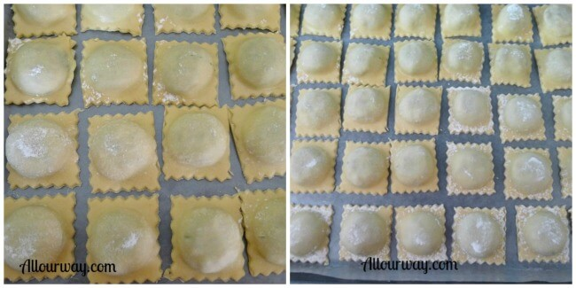 Collage showing how the Italian Ravioli are placed on a parchment lined baking sheet ready to freeze at allourway.com