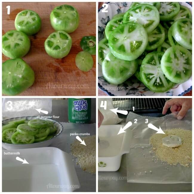 First four steps for preparing fried green tomatoes, cutting the tomatoes, spraying them with water, flouring them, then putting them in the breadcrumbs.