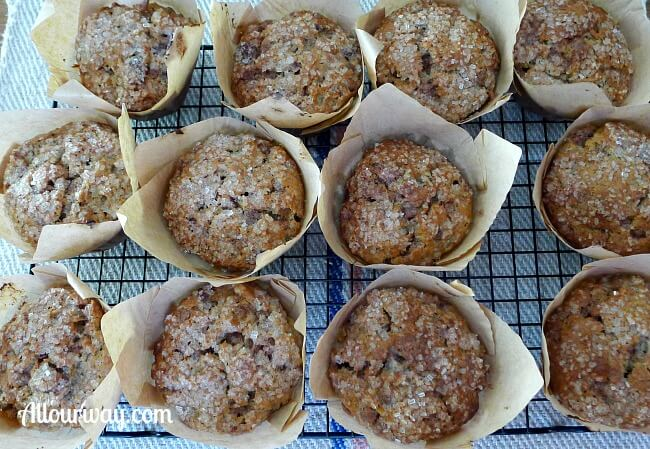 Banana Chocolate Chip Muffins Cooling on Rack @Allourway.com