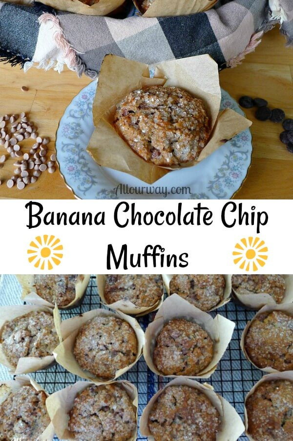 Collage of banana chocolate chip muffins that are in brown parchment paper muffin cups on photo of them on a wire rack cooling and the other is on a white china plate with dainty gray flowers around the plate and one muffin in the center.