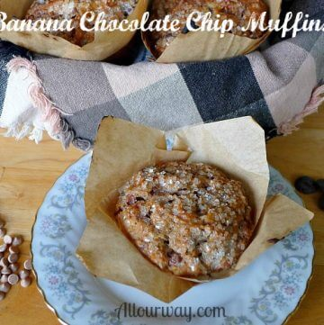 Banana Chocolate Chip Muffins with Cinnamon Chips and Toasted Walnuts at Allourway.com