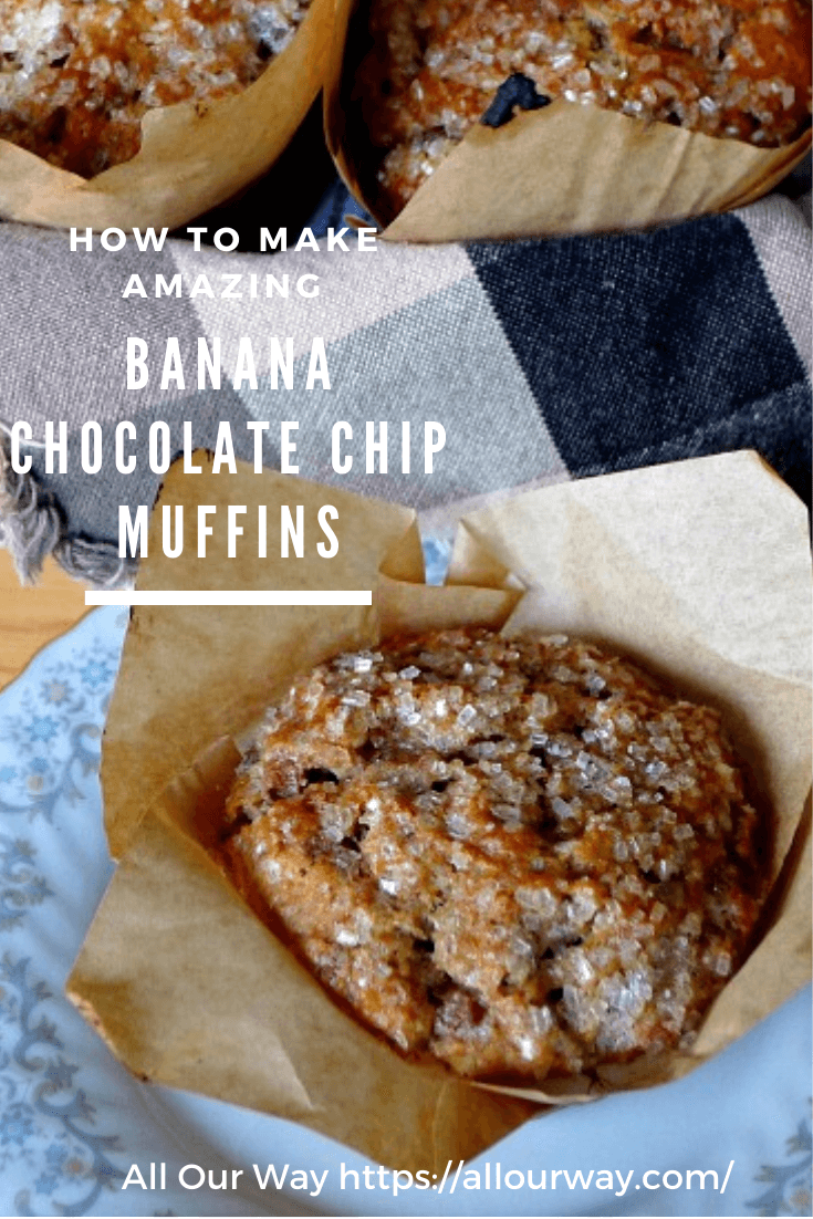 Deep banana flavored muffins that are very tender, moist, and loaded with three different kinds of goodies: bittersweet chocolate chips, cinnamon chips, and toasted walnuts. They make a tasty treat or a tasty accompaniment to your coffee or tea. #bananamuffins, #chocolatechipmuffins, #bananacinnamonmuffins, #bestbananamuffins, #dessertmuffins, #breakfastmuffins