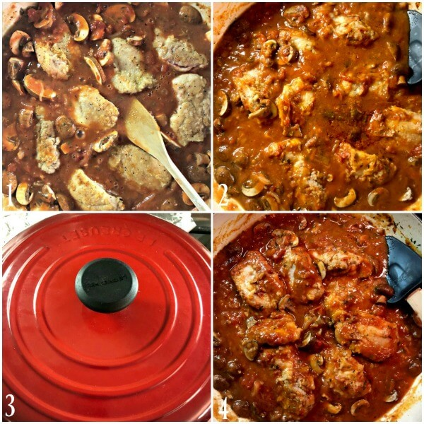 Collage of 3rd set of directions for making Chicken cacciatore or pollo alla cacciatora.