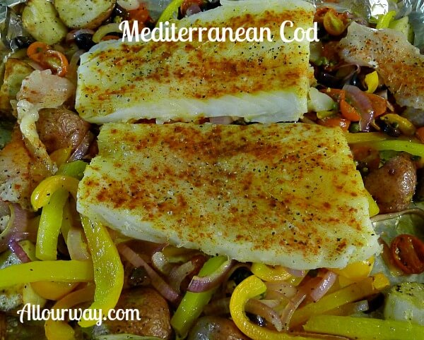 Mediterranean Cod roasted on vegetables @allourway.com