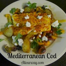 Mediterranean cod sprinkled with crumbled goat cheese @allourway.com