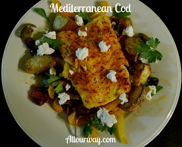Mediterranean Cod with roasted vegetables and goat cheese @allourway.com