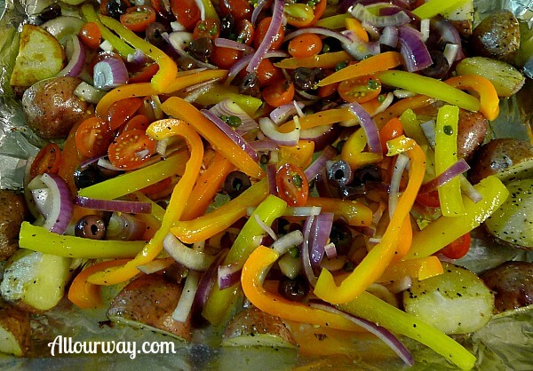 Mediterranean vegetables roasting for Mediterranean cod @allourway.com