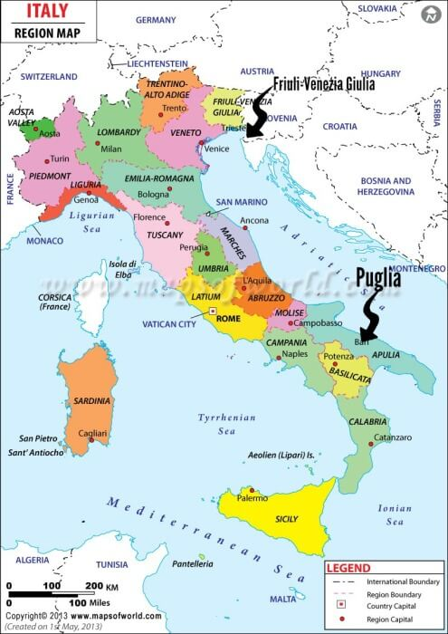 Italian Regional Map Pointing to Friuli-Venezia Giulia and Puglia @allourway.com