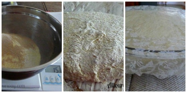 Pugliese bread mixing together ingredients the following day @ allourway.com