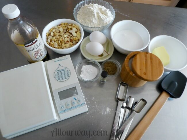 Ingredients for Anise Almond Biscotti @allourway.com