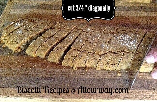 "Gingerbread biscotti slicing the dough diagonally 3/4"" @allourway.com"