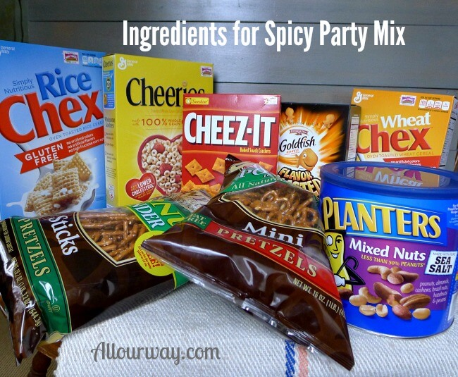 Party Mix Ingredients @allourway.com
