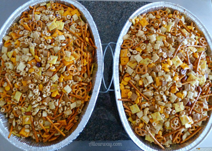 Party Mix in two Roasting Pan is cooling @allourway.com