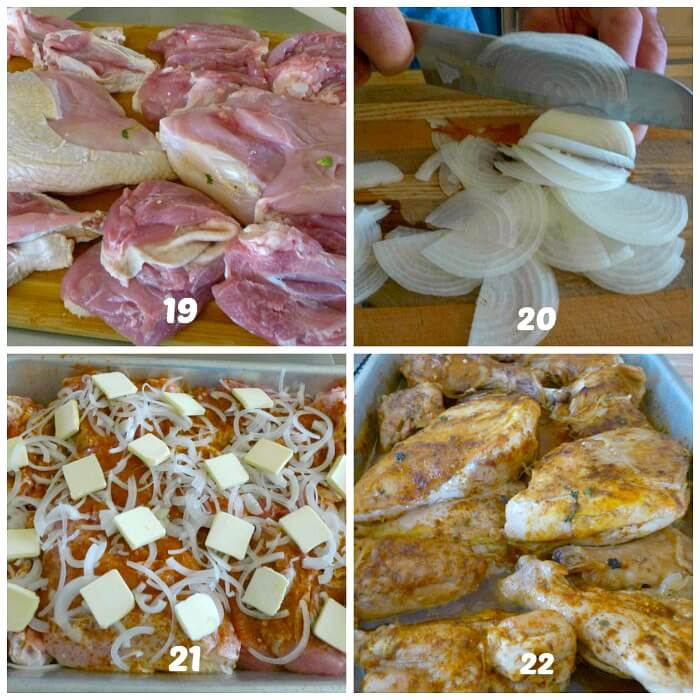 Collage of boning and preparing the Perfect roast turkey steps 19-22.