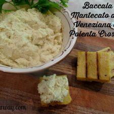 Baccala Mantecato alla Veneziana served as an appetizer on Polenta Crostini @allourway.com