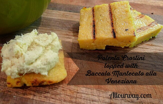 Grilled Polenta Crostini are grilled and ready for topping @allourway.com