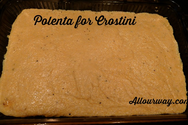 Polenta for grilled Crostini is cooling before being cut @allourway.com