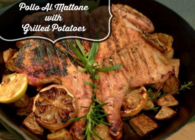 Pollo al Mattone with Grilled Potatoes in Cast-Iron Skillet @allourway.com