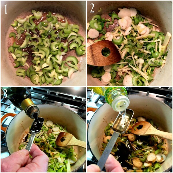 Collage of first four steps in making Hot Sour Soup