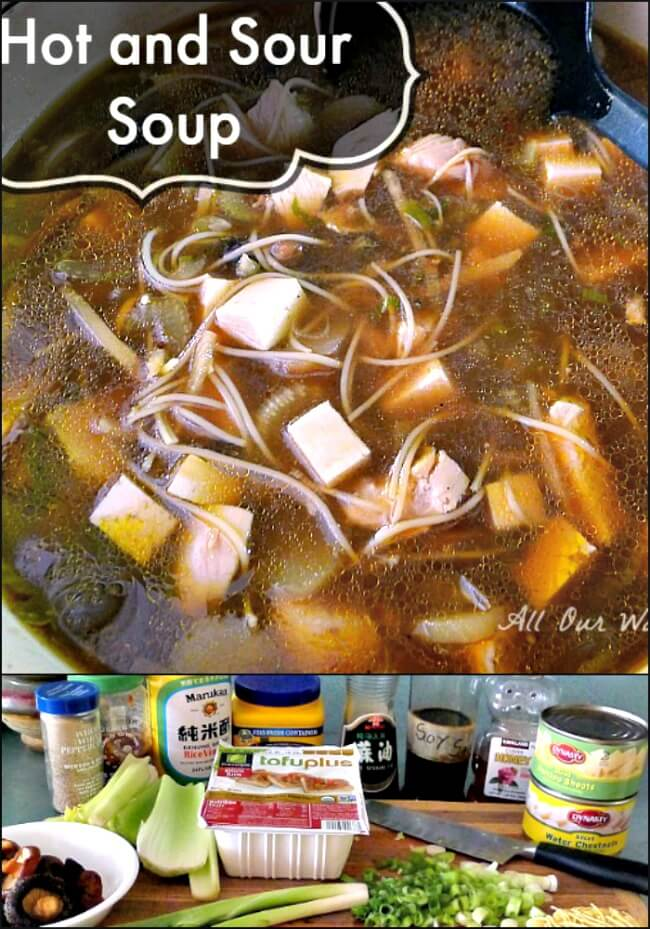Collage of Hot sour soup in a large dutch oven and the ingredients below the picture.