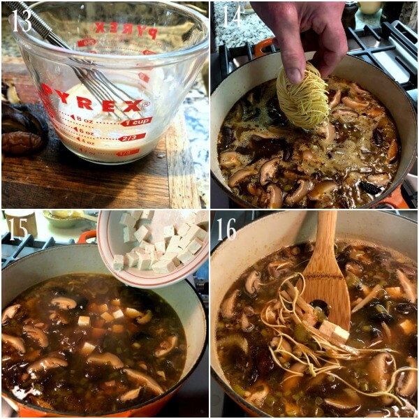 Collage of the easy steps 13-16 for Hot and sour Soup.