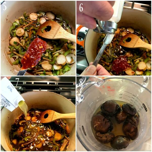 Collage of steps 5-8 for hot and sour soup.