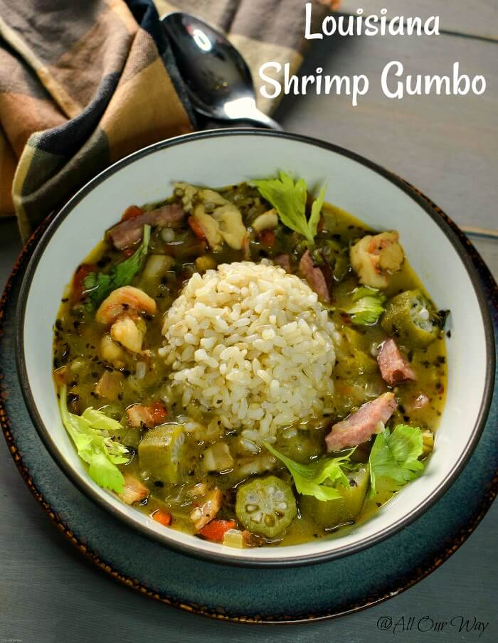 Louisiana Shrimp Gumbo is a delicious southern spicy stew, a hearty soup that's served with rice. #gumbo,#stew,#soup,#Louisianasoup,#heartysoup, #comfortfood, #ricesoup #cajunsoup,#filésoup, #okrasoup, #shrimpgumbo, #MardiGras, #comfortfood, #FatTuesday