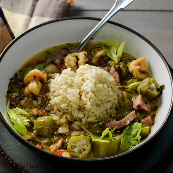 Louisiana Shrimp Gumbo in bowl with rice and a spoon.