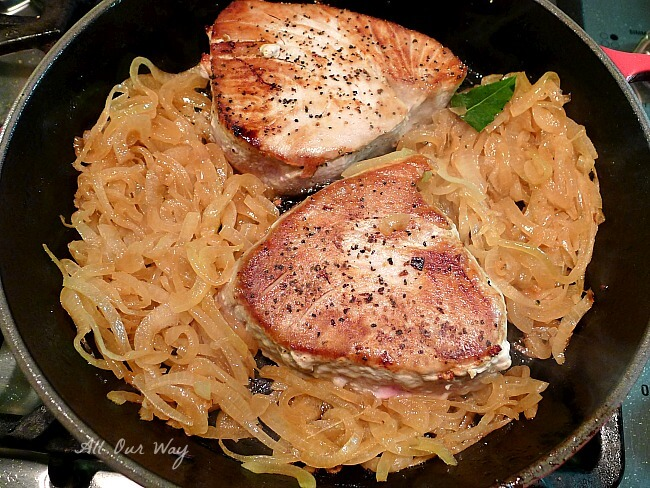 Fresh tuna is seared and now in the skillet with the caramelized onions @allourway.com