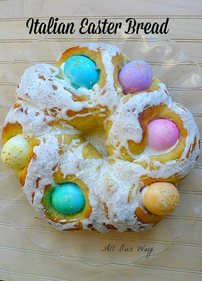 Italian Easter Bread with Colored Eggs @allourway.com