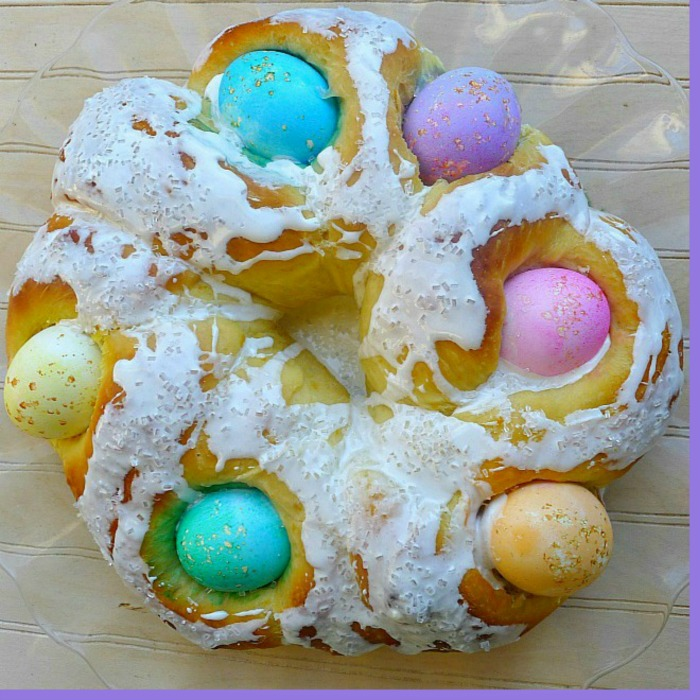 Italian Easter Bread with Colored Eggs is a brioche style bread whereby the raw eggs cook as the bread bakes.