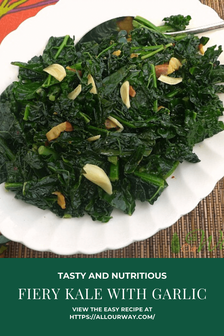 A spicy kale recipe that is sautéed in olive oil with garlic, red pepper flakes, and pancetta. Easy to make and very nutritious, The vegetable keeps it body but isn't tough. #kale, #fierykale, #kaleandgarlic, #spicykale, #sautéedkale