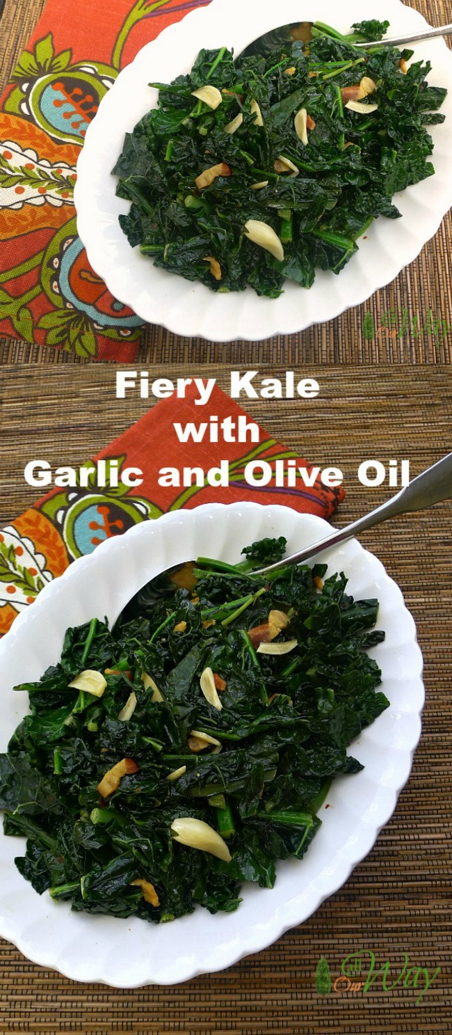 Fiery Kale with Garlic and Olive Oil is a delicious vegetable side with a spicy taste.