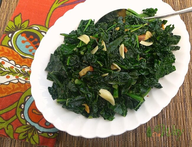 Fiery Kale with Garlic, Olive Oil and Pancetta @allourway.com