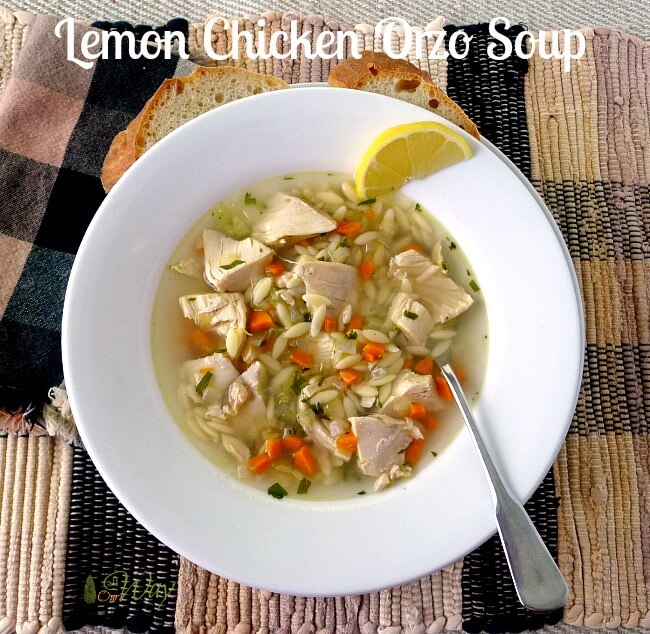 Lemon Chicken Orzo Soup in Bowl with Artisan Bread @allourway.com
