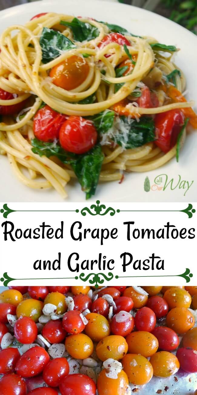 Roasted grape tomatoes and garlic pasta mixed with baby greens on a white plate.