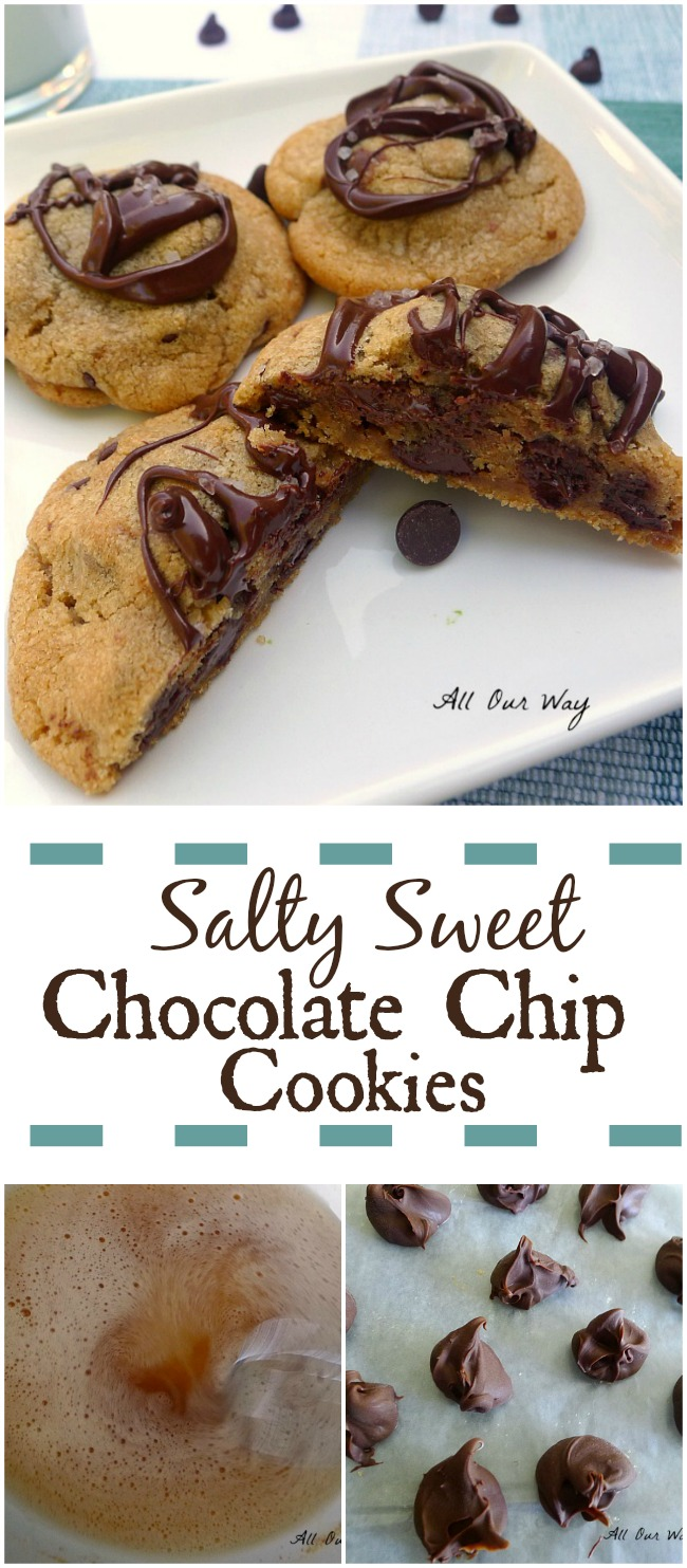 Salty Sweet Nutella Chocolate Chip Cookies give you a triple chocolate treat. #Nutella, #Chocolate_chips, #Chocolate_drizzle, #brown_butter, #chocolate_chip_cookies