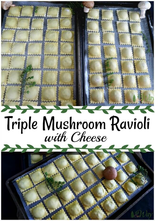 A collage with cookie sheets stacked with ravioli and spring of thyme and three mushrooms
