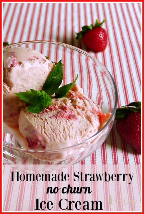 Homemade Strawberry Ice Cream is so much tastier than store-bought. The rich dessert is studded with delicious chunks of strawberries. What's even better is that it is no-churn so you don't need any special equipment. Make ahead and freeze. The special ingredient prevents the dessert from freezing too hard. #nochurnicecream, #strawberryicecream, #homemadestrawberryicecream, #frozendessert, #easyicecream, #condensedmilkicecream,